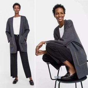 Zara Charcoal Cotigan - Gray Long Coat/Cardigan